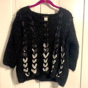 Solution Black 3/4 Sleeve Sweater with Ribbons